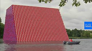 Christo's first major outdoor artwork in UK floats on London lake