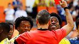 أول بطاقة حمراء للمونديال في وجه لاعب كولومبي أمام اليابان