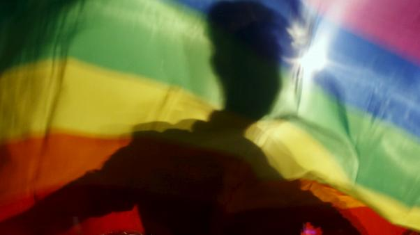 A rainbow flag file photo