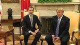 Donald Trump recibe a los reyes de España en la Casa Blanca
