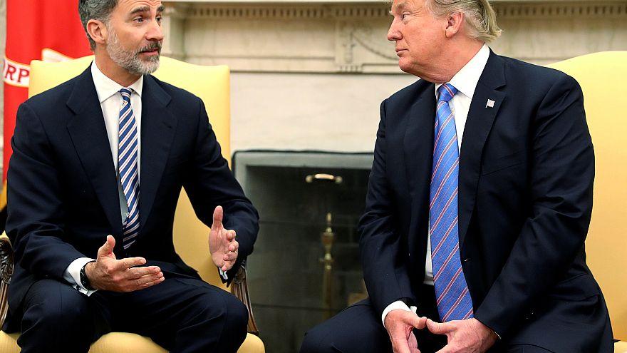 Reis de Espanha na Casa Branca com Trump