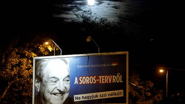 government billboard displaying George Soros