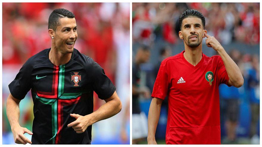 المغربي مبارك بوصوفة (يمين) وكريستيانو رونالدو