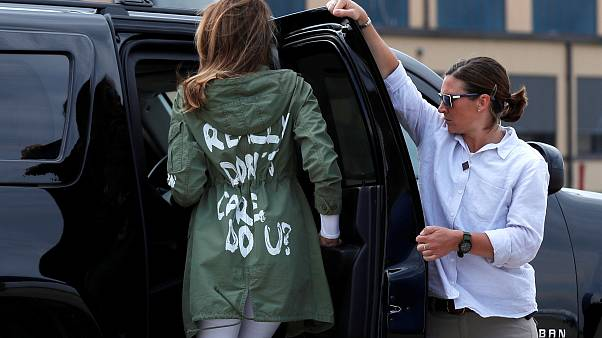 "Melania Trump in her ""I don't care"" coat"