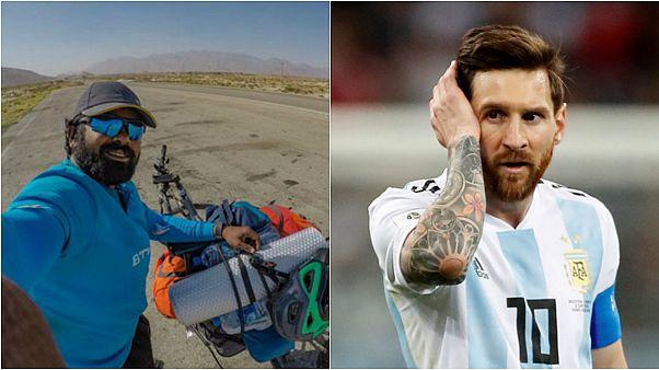 Messi'yi izlemek için Hindistan'dan Rusya'ya bisikletle gitti