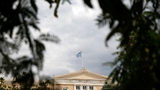 Görög zászló az athéni parlament épületén