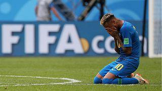 Neymar não evitou as lágrimas no final do jogo em São Petersburgo