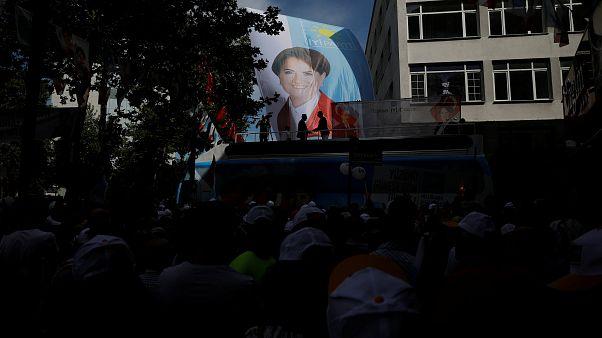 A banner depicting Iyi (Good) Party leader Meral Aksener