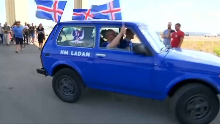 Lada driving from Iceland to Russia