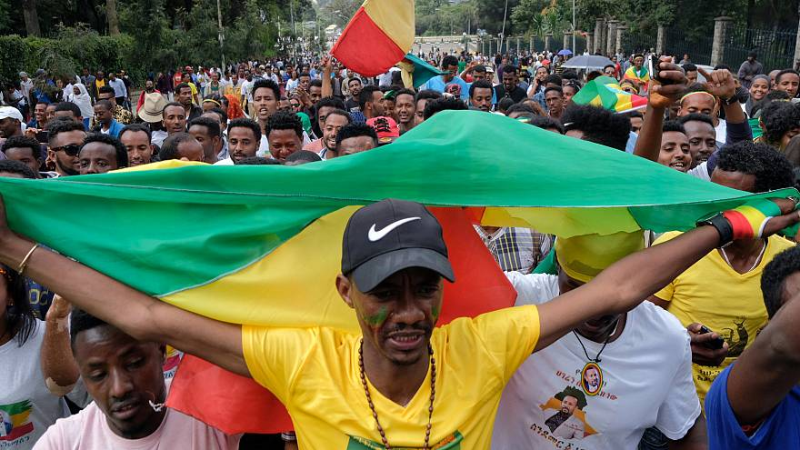 Thousands attend a rally for Ethiopia's new PM