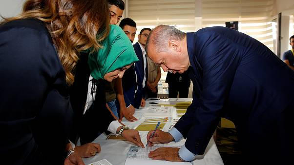 President Erdogan casts his vote