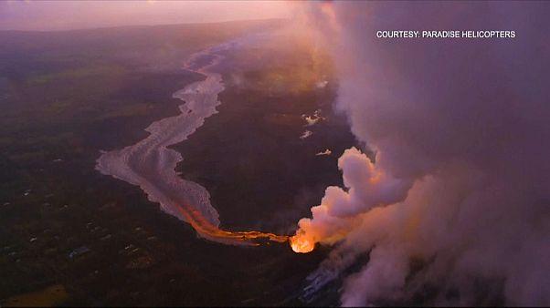 شاهد: إنخفاض حدة ثوران بركان كيلواي بجزيرة هاواي