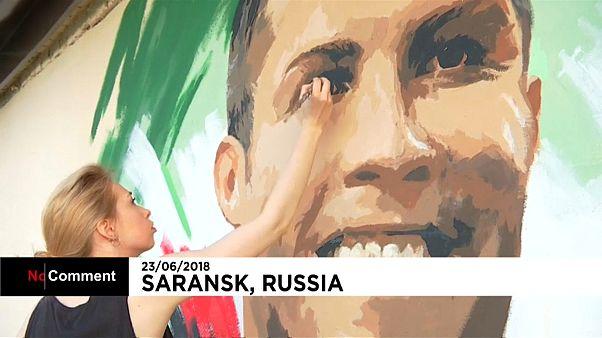 Ronaldo mural greets Portugal in Saransk