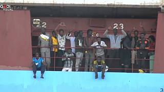 Rescued migrants remained stranded at sea