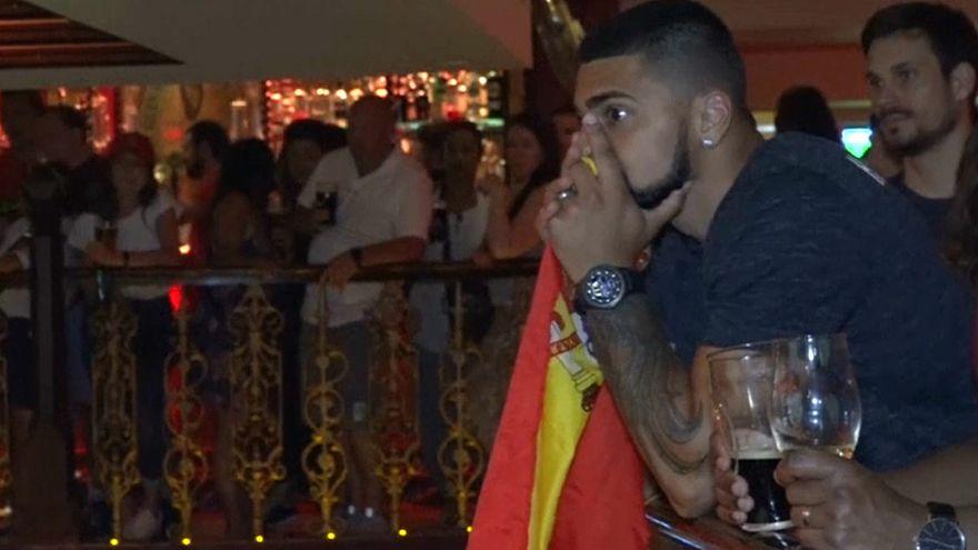 Alivio y tensión durante el partido de España contra Marruecos