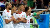 """غرانيت تشاكا يؤدي """"النسر الألباني"""" - المصدر: رويترز."""