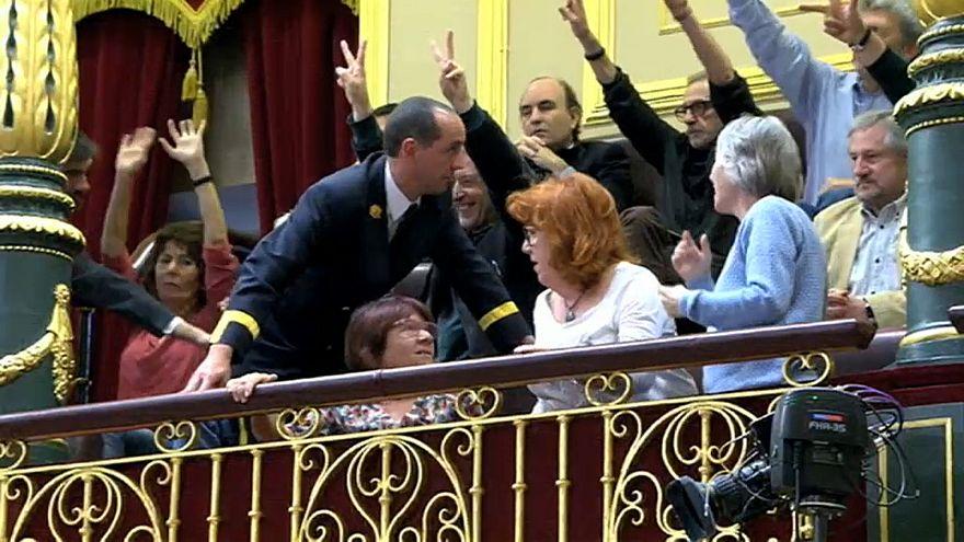Víctimas de Billy el Niño en la tribuna del Congreso de los Diputados