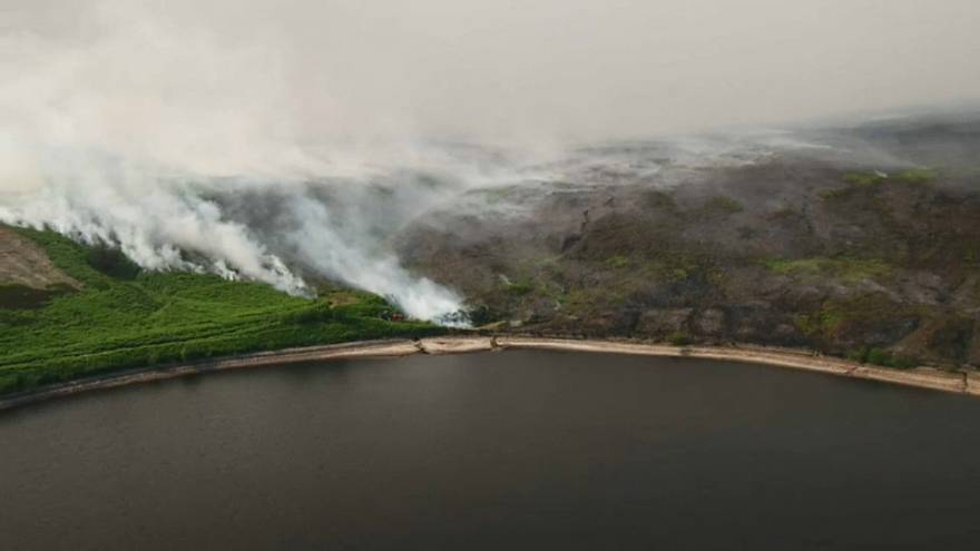 Firefighters battle moorland blaze in Greater Manchester