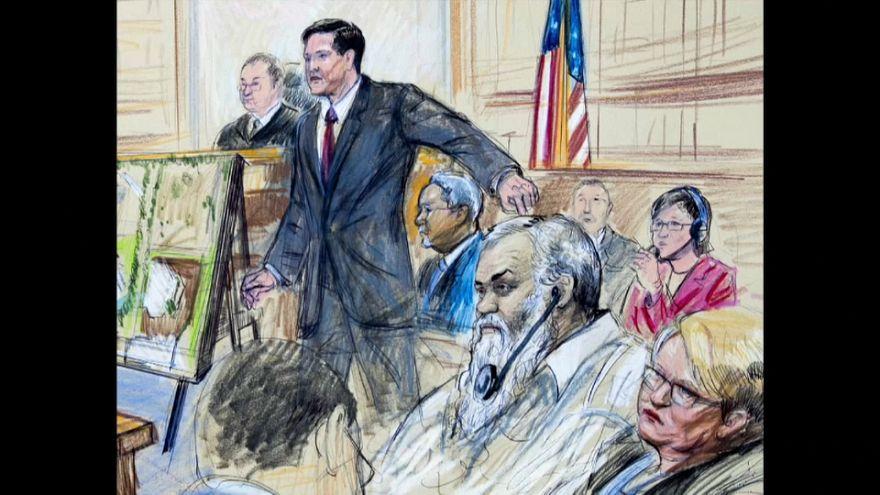 رسم توضيحي لمحاكمة المتعم بتفجير السفارة الأمريكية في ليبيا