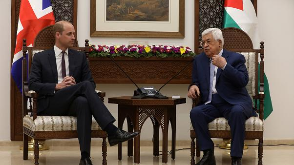 Britain's Prince William meets Mahmoud Abbas
