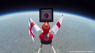 'Duck of Luck' sent into space as England prepare to take on Belgium