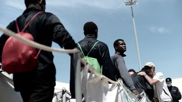 Migrants dismbarking in Europe