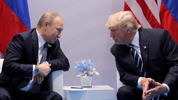 Vladimir Putin and Donald Trump at the G20 summit in Hamburg, July 7, 2017