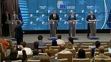 Borisov, Tusk e Juncker no final da cimeira