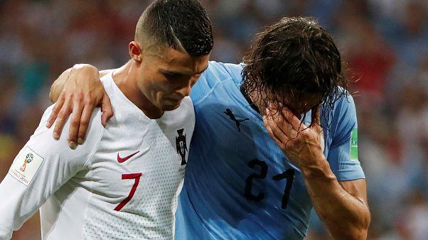 Pizzas decorated Portugal's Cristiano Ronaldo and Uruguay's Luis Suarez