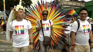 Bunter Festumzug in Manila