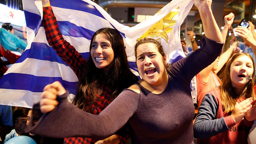 fans celebrating in montevideo
