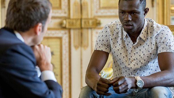 Mamoudou Gassama meeting French President Emmanuel Macron