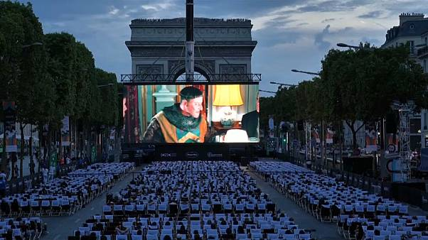 Champs Elysees transformed into open-air cinema for a night