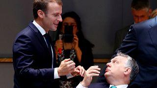 French President Emmanuel Macron Hungarian Prime Minister Viktor Orban