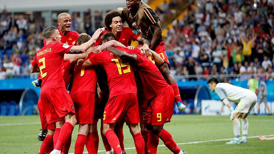 Belgium's Nacer Chadli celebrates scoring their third goal