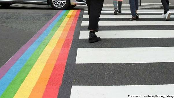 Paris mayor makes 'rainbow crossings' permanent in response to homophobic vandalism
