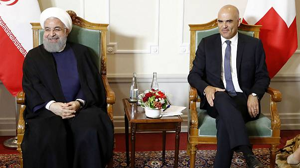 Swiss Federal President Alain Berset and Iranian President Hassan Rouhani