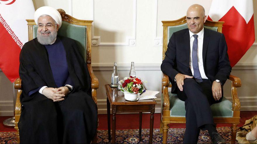 Swiss Federal President Alain Berset and Iranian President Hassan Rouhani