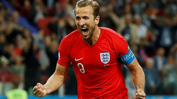 Harry Kane reacts after scoring a penalty against Colombia.
