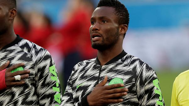 Nigeria's John Obi Mikel before the match against Argentina