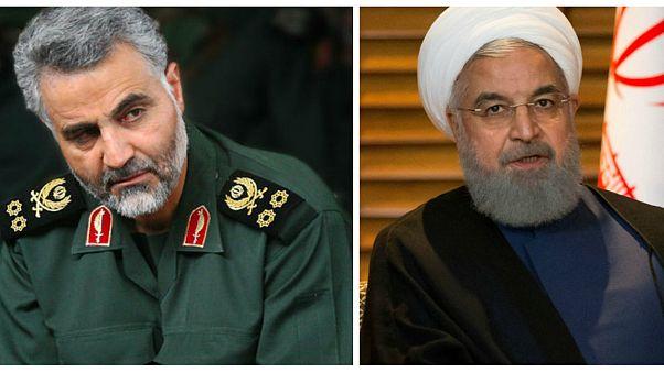 قاسم سلیمانی فرمانده سپاه قدس و حسن روحانی رئیسجمهور ایران