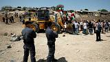 Palestinians sraeli bulldozer   Bedouin village of al-Khan al-Ahmar