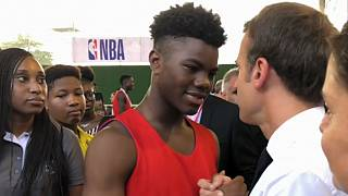 Watch: Emmanuel Macron is a hit with Nigeria's youngsters