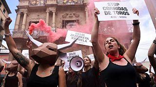 Protestas contra las corridas de toros en Sanfermines