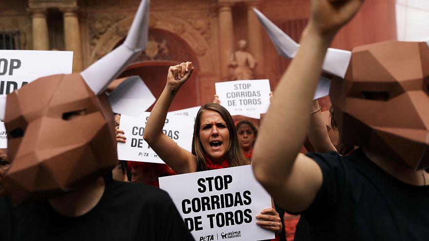 Corsa dei tori, la protesta degli animalisti a Pamplona