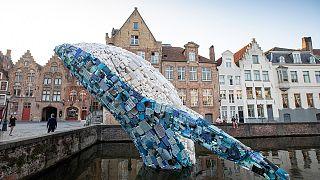 Óceánból kihalászott műanyag szemétből épült az öt tonnás bálna