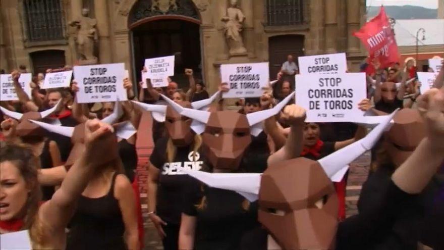 Pamplona, la protesta degli animalisti