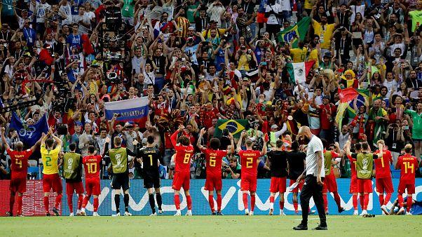 المنتخب البلجيكي بعد التأهل للدور نصف النهائي لكأس العالم