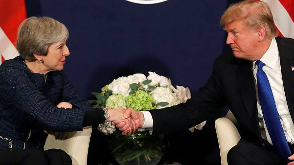 Donald Trump and Theresa May in Davos, Switzerland on January 25, 2018.