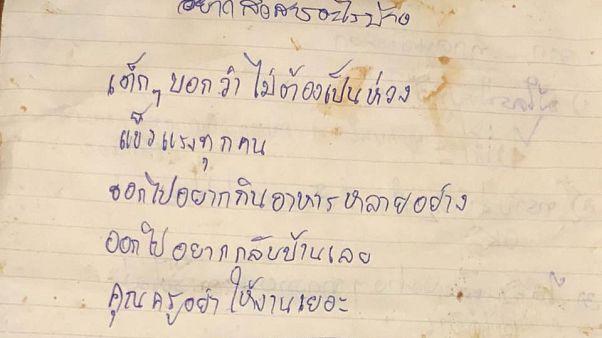 Tayland'daki mağarada mahsur kalan çocuklardan mektup: Merak etmeyin biz iyiyiz